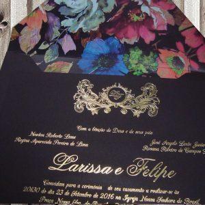 Convite com estampa floral aba
