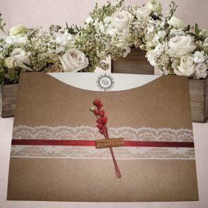 Convites com renda e canela em papel kraft, com flor sempre viva, convites de casamento