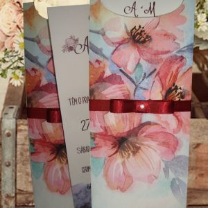 convites de casamento floral aquarela