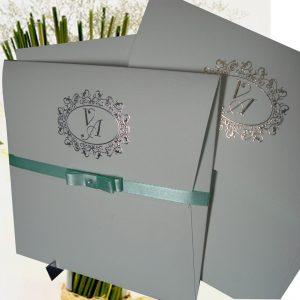convites vintage, brasão metalizados
