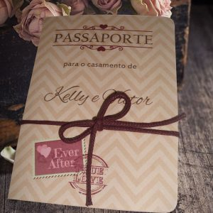Convite de casamento tema passaporte